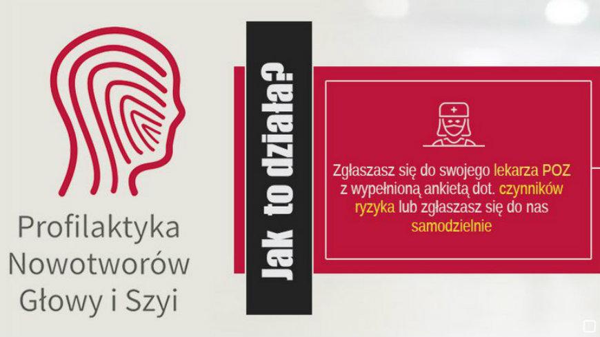 baner zachęcający do badań profilaktycznych wykrywania nowotworów głowy i szyi