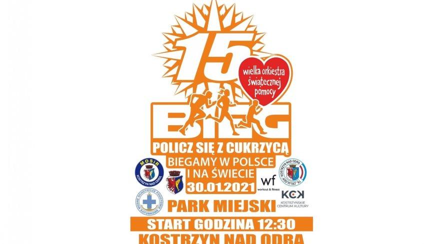 Plakat promujący bieg policz się z cukrzycą. Park Miejski, godzina 12:30, 30.01.2021 r.