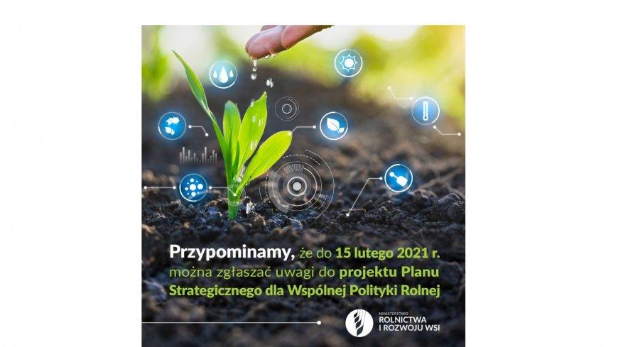 Plakat przedstawiający ziemię i wyrastającą z niej młodą roślinę - promocja planu strategicznego dla wspólnej polityki rolnej
