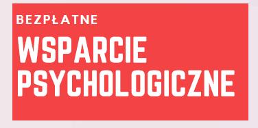 grafika z białym napisem na czerwonym tle: BEZPŁATNE WSPARCIE PSYCHOLOGICZNE