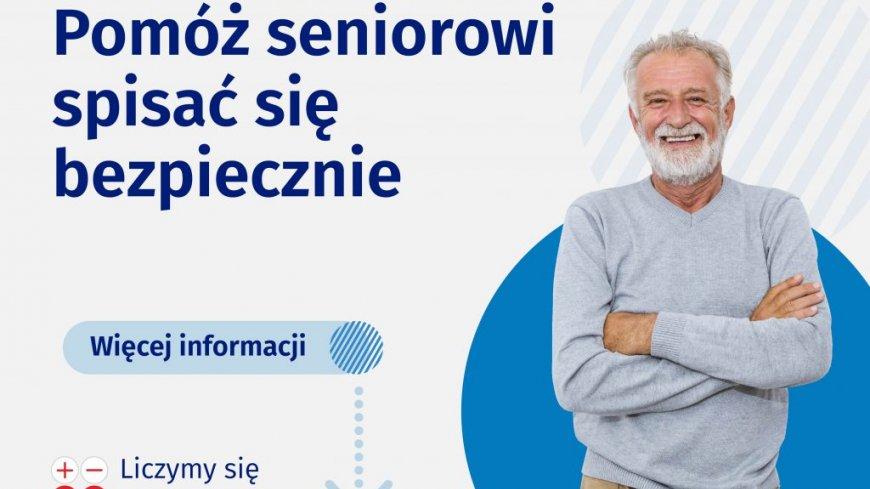 """grafika z napisem """"Pomóż seniorowi spisać się bezpiecznie - więcej informacji"""""""