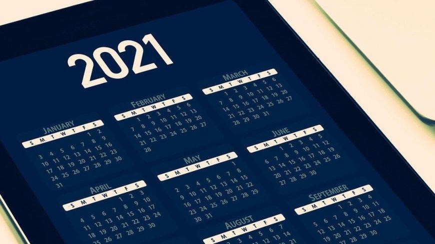 grafika przykładowa przedstawiająca fragment kalendarza na 2021 rok