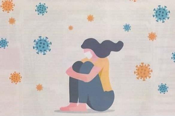 Grafika z okładki poradnika - dziewczyna siedząca, skulona w maseczce.