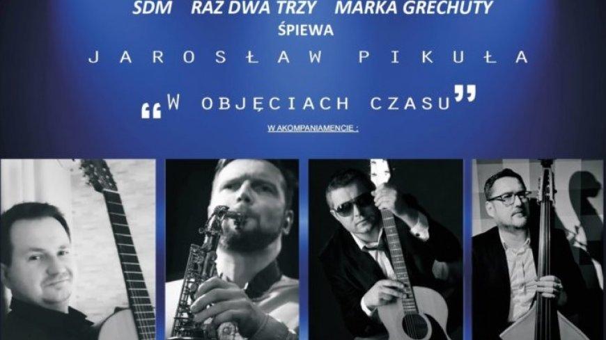 Część plakatu przedstawiająca muzyków - czterech mężczyzn z instrumentami.