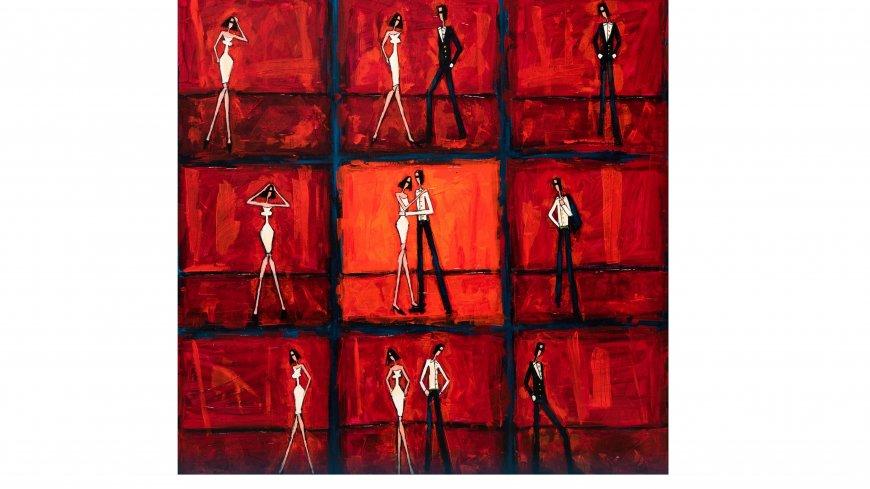 Zdjęcie przedstawia cykl dziewięciu obrazów z czerwonym tłem. Na nim ukazani są ludzie, kobieta i mężczyzna, na każdej grafice w innej pozycji i relacji względem siebie.