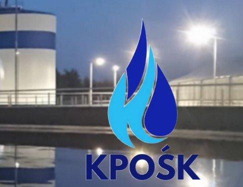 logo programu KPOŚK na tle instalacji oczyszczalni ścieków