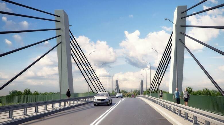 grafika przedstawia planowany wygląd mostu drogowego na rzece Warta - materiał inwestora