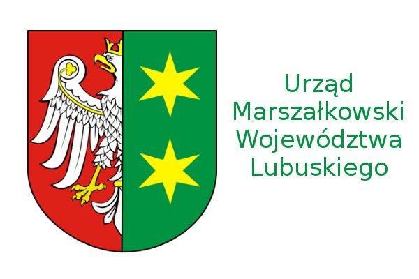 Napis: Urząd Marszałkowski Województwa Lubuskiego oraz herb województwa lubuskiego.